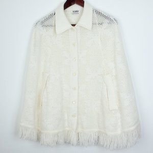 Rosanna Vintage Poncho Button Down Fringe Cape